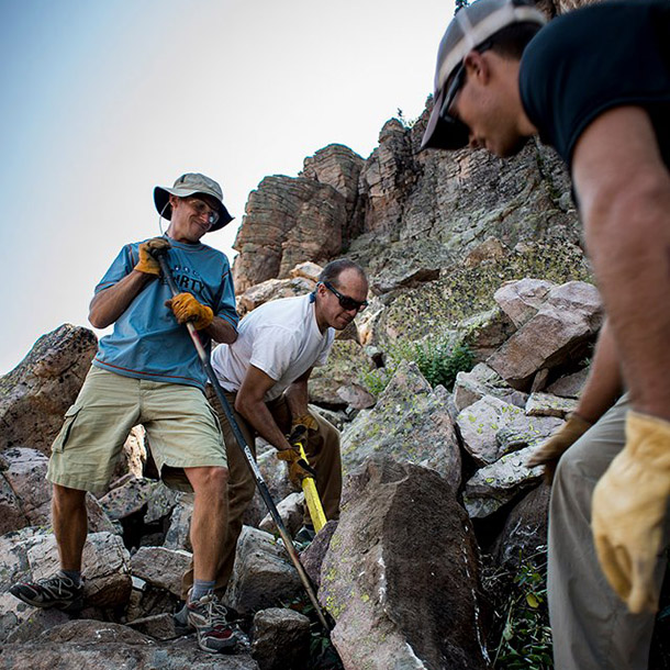 Salt Lake Climbers Alliance members doing trail work in the Uintas. Photo: Justin Roth