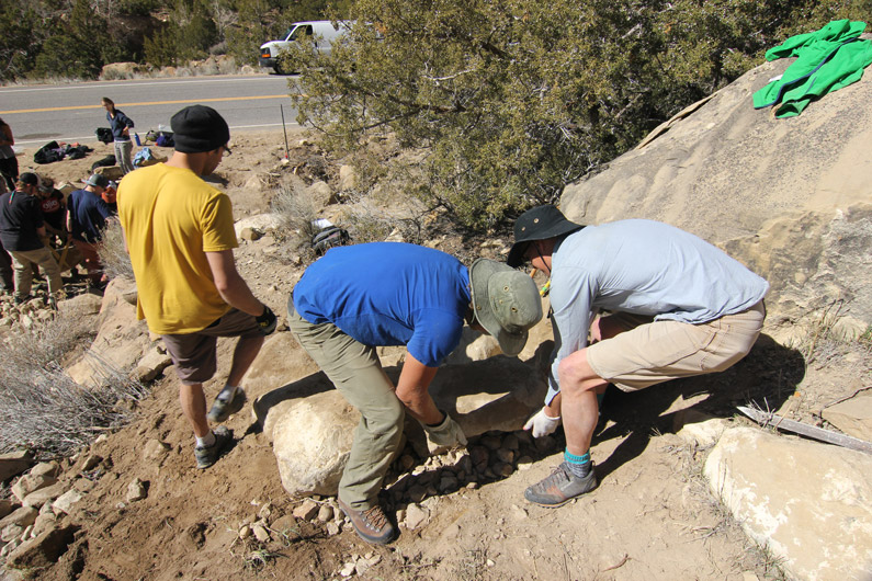 Volunteers working at the 2015 Joe's Valley Adopt A Crag - Salt Lake Climbers Alliance