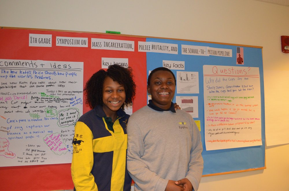Catenzia and Jovan posing in front of the questions asked by the school