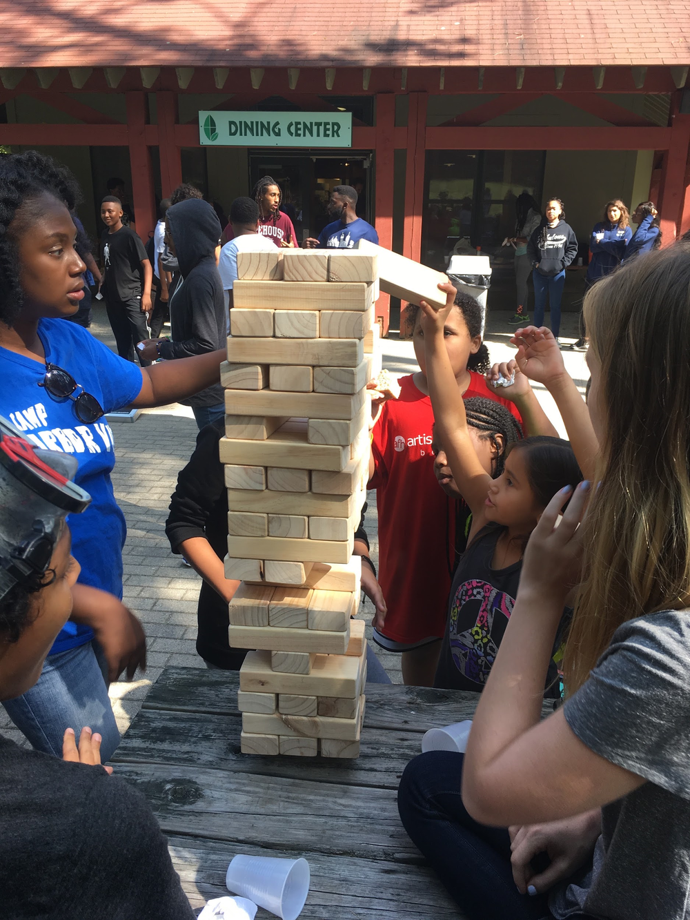 5th Graders playing Jenga