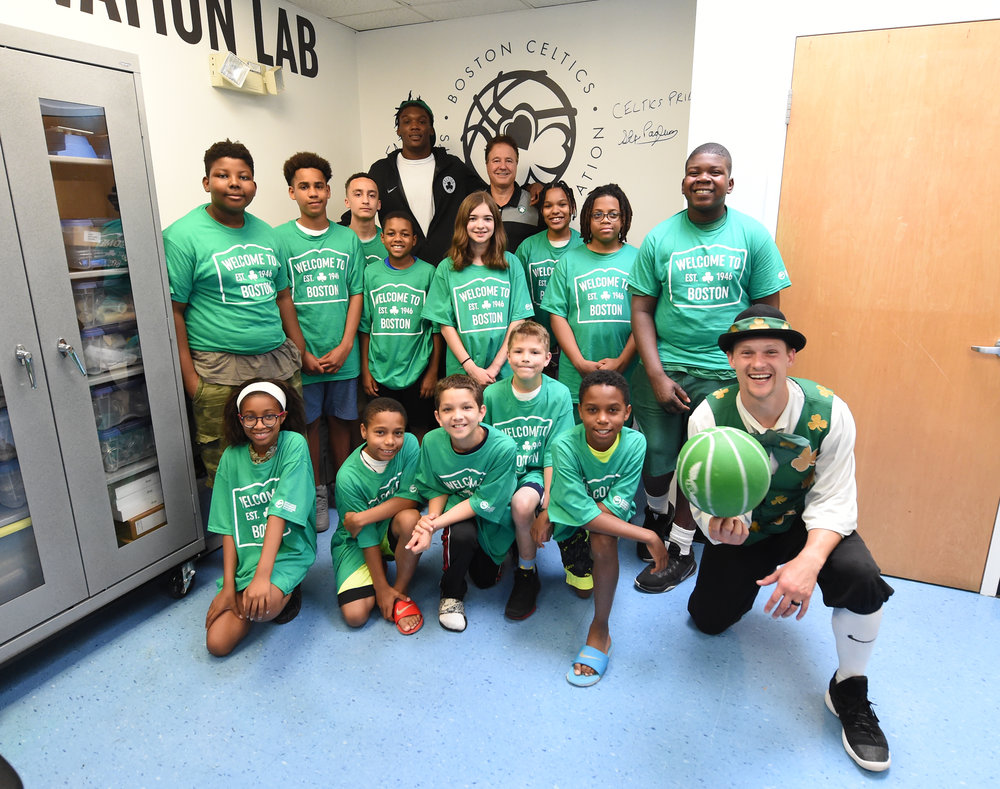 Robert, Stephen Pagliuca (co-owner of the Boston Celtics) and our kids in the STEM Lab