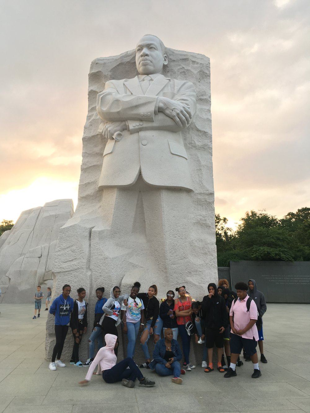 Posing with Dr. Martin Luther King, Jr.'s statue