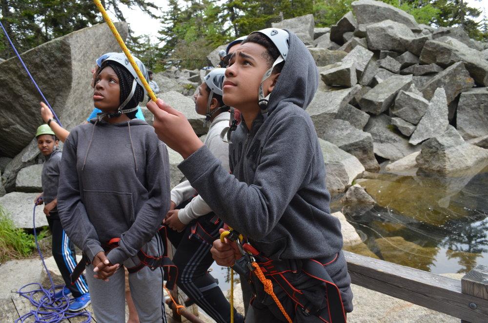 Nijah and Dario getting ready to climb the mountain