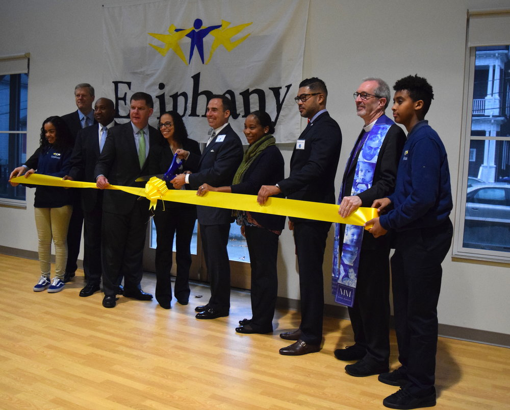 [left to right: Anayah (Epiphany 8th Grader), Governor Baker, Representative Holmes, Mayor Walsh, Dr. Sanchez, Rev. Finley, Councilor Campbell, Mr. Paris Jeffries, Bishop Gates and Romel(Epiphany 8th Grader)]