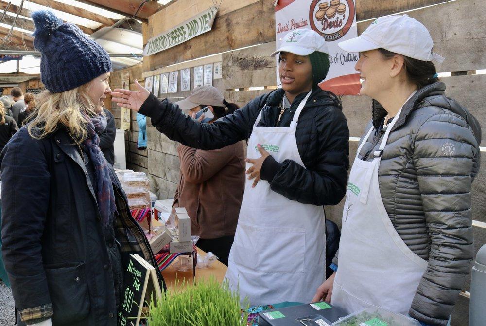 Nijah and Lisa talking to Sara (Edible Boston's Editor) at the Wayland Farmers Market