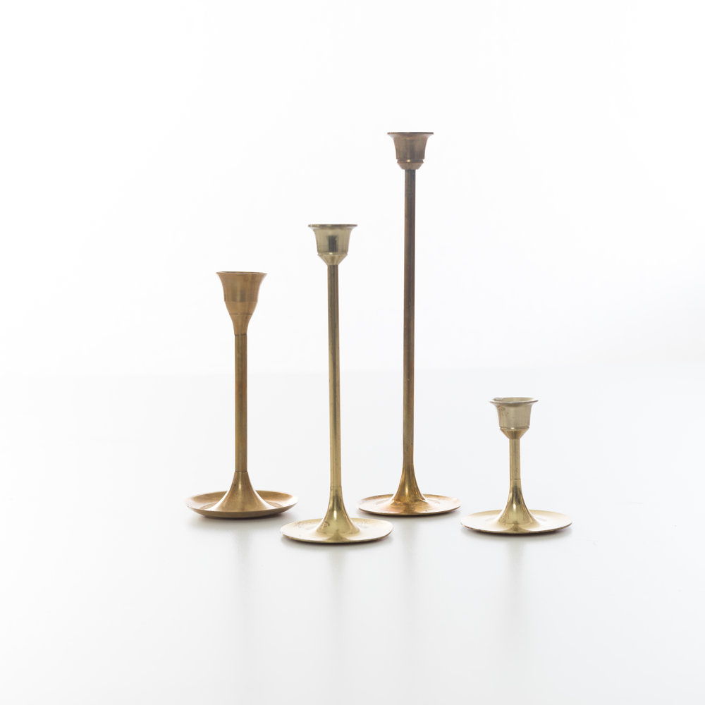 MIDCENTURY Brass CANDLESTICK COLLECTION