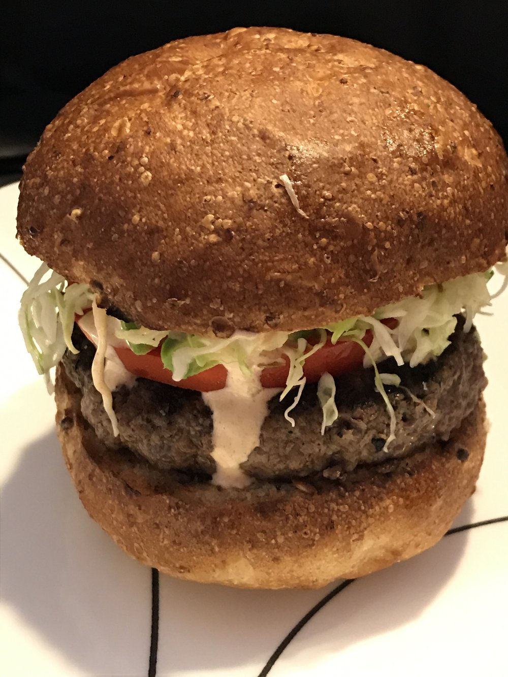 Organic Hamburger with Wilted Slaw and Smoked Paprika Aioli
