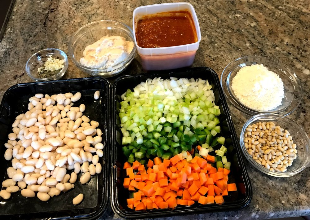 Mise en place (French for everything in its place) assembled before begining.