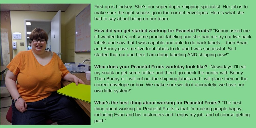 First up is Lindsey. She's our super duper shipping specialist. Her job is to make sure the right snacks go in the correct envelopes. Here's what she had to say about being on our team- How did you get started wor.jpg