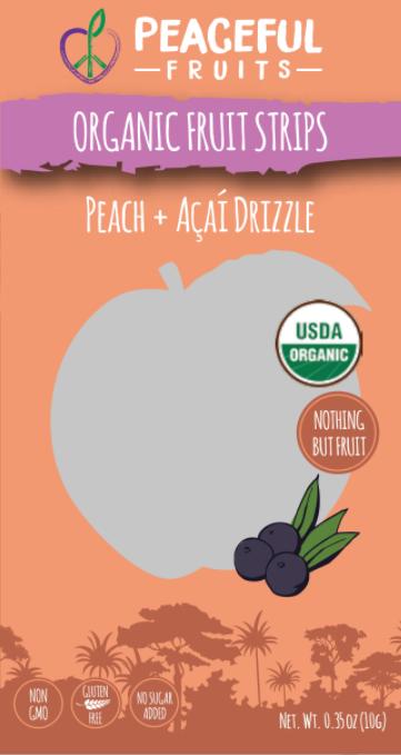 Ingredients: Organic Peach, Organic Acai, Organic Apple, Organic Dates, Organic Lemon Juice