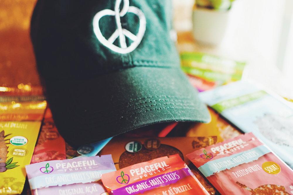 peaceful fruits hat among snacks