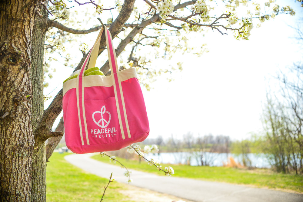canvas bag hanging on a tree