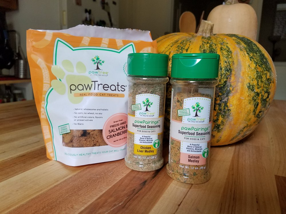 A few product offerings: natural freeze-dried cat treats and cat food seasoning! Yes, this is real and yes, our cat tester adored all of these.