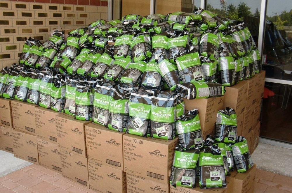 Citizens for Animal Protection received a whopping 5,727 lbs of cat litter!