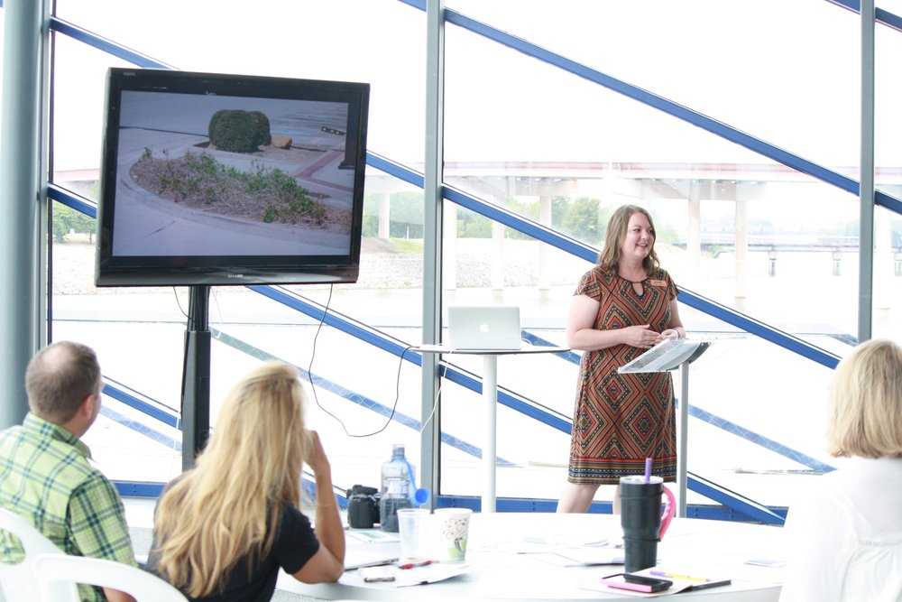 Kelly Tompkins, with Enid Main Street, presenting on their beautification projects in Enid.