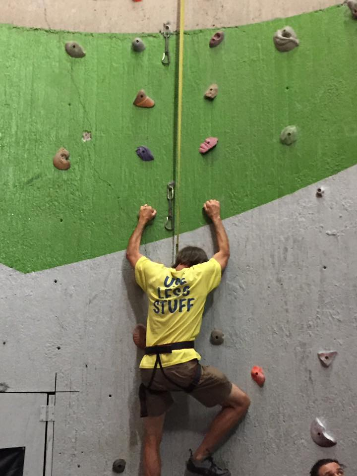 KOB Board President, Fenton Rood, on a climbing wall at ClimbUP Gym in OKC.