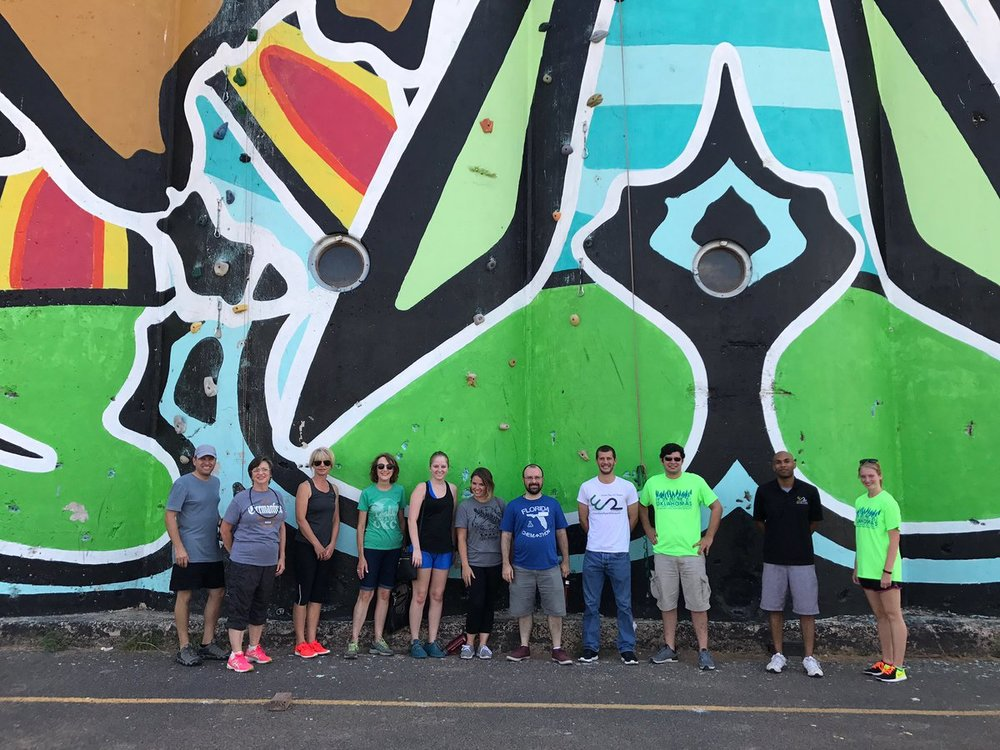 Affiliate members in front of the ClimbUP Gym in OKC.