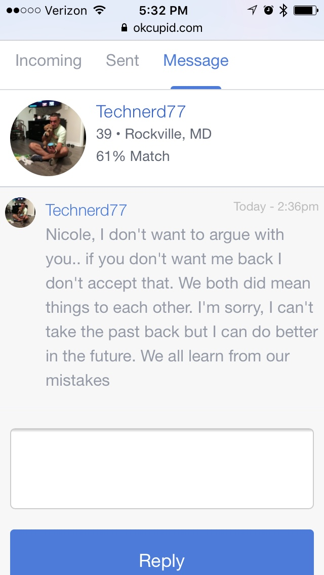 Oh, right... because all the boys who message me sound a little something like this. Who's Nicole, though?!