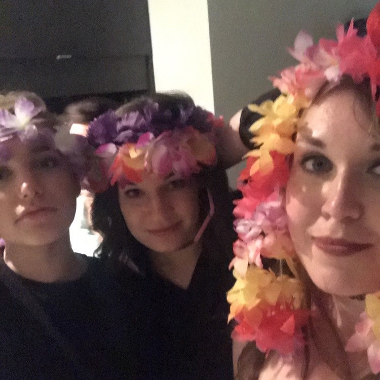 Post-Luau attempts at Coachella attire by Steff, Kelsey, and I. This is the kind of stuff that  must  be discussed at brunch.