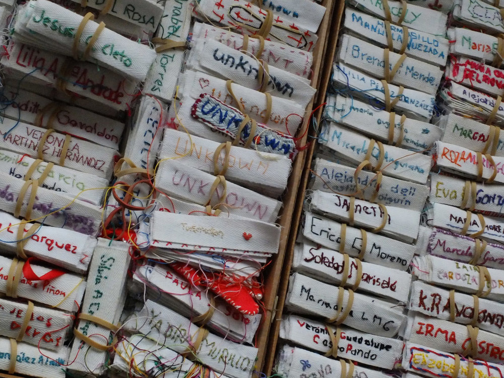 Image: Embroidered name tags/ Photo Credit: Lise Bjørne Linnert
