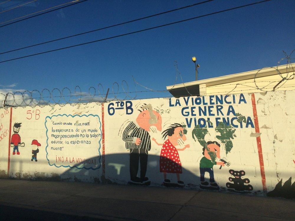 "Image: Mural from Cd.Juárez ""Violence generates violence"" (2017) /Photo Credit: NI EN MORE"