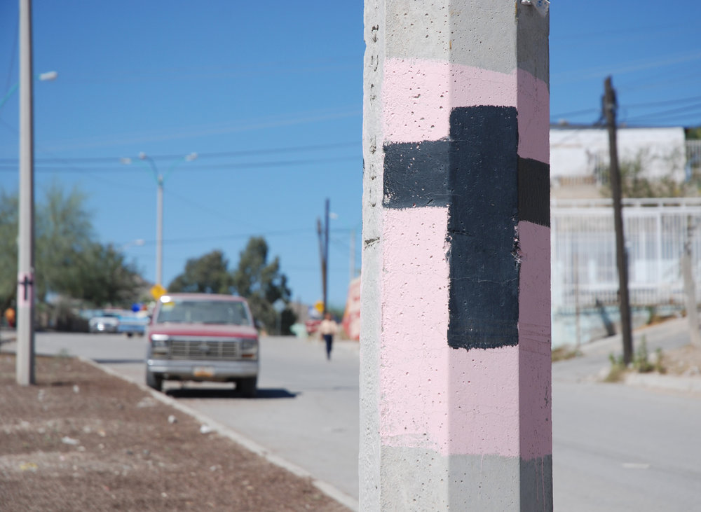 Image: A protest light pole in Cd. Juárez / Photo credit: Lise Bjørne Linnert