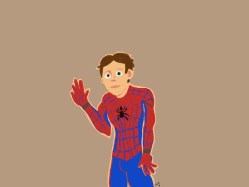 Peter Parker waves.