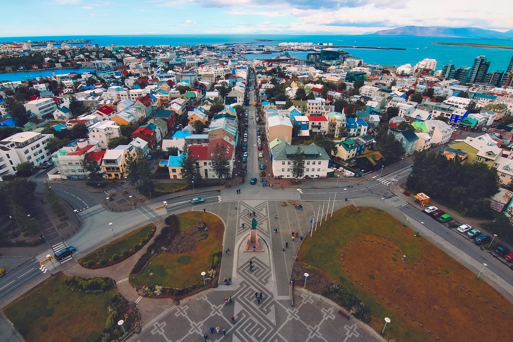 The View from the Lutheran Cathedral in reykjavik, ICELAND