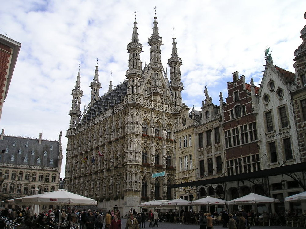 The GOTHIC TOWN HALL IN LEUVEN, BELGIUM