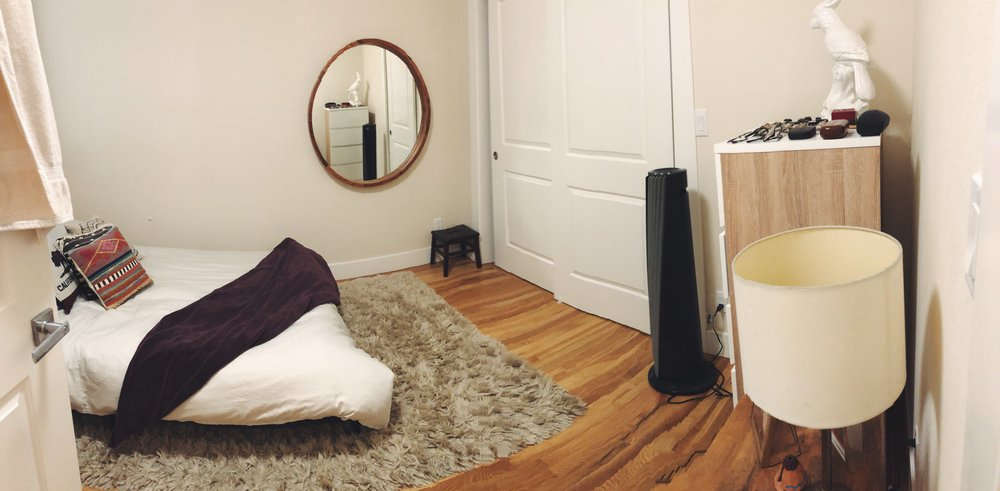 The bedroom, in it's crooked panoramic glory!