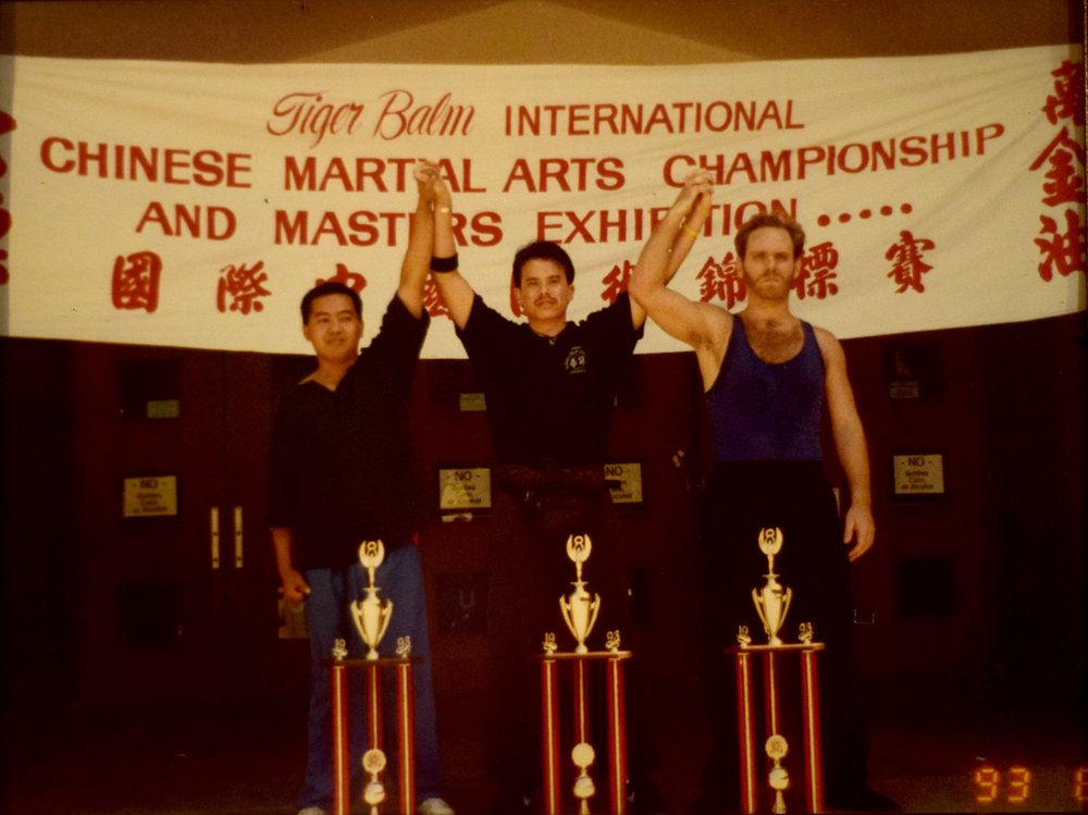 Professor Brian Tufts (Far Right) celebrating his victory with his Wing Chun brothers at the Tiger Balm International Chinese Martial Arts Championship