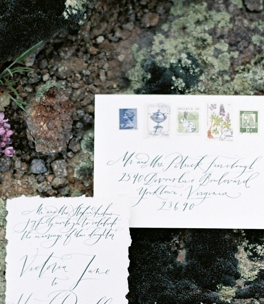 Envelope Addressing Services and vintage stamps by Sarah Pearl Studio, fine art calligraphy