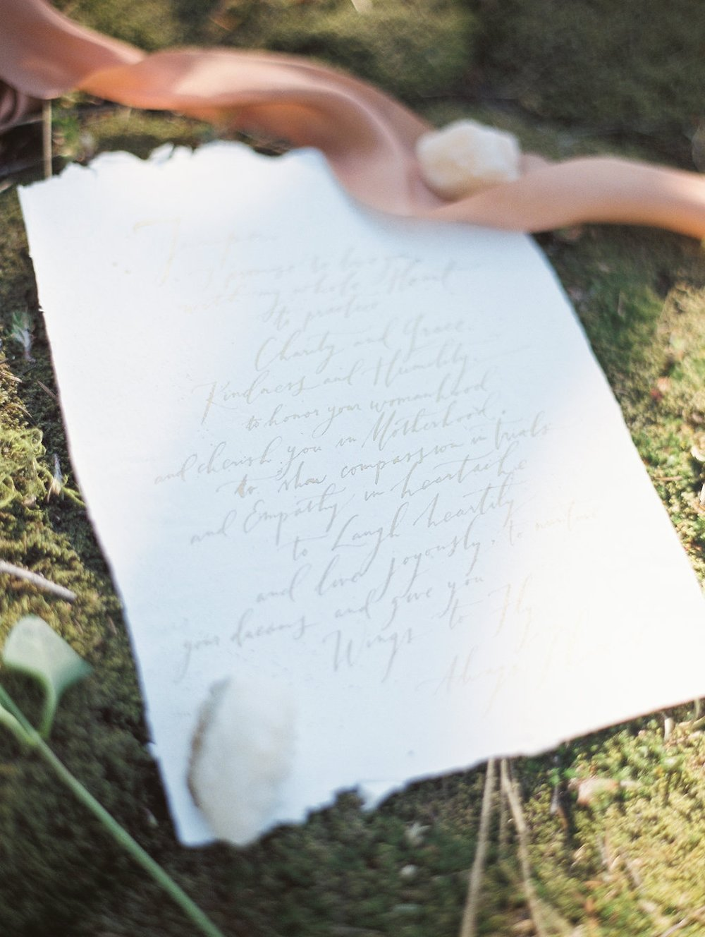 Sarah Pearl Studio custom wedding vow or love letter on handmade paper |  #fineartcalligraphy