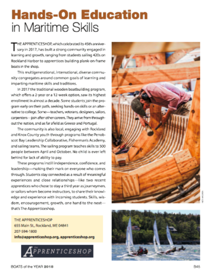 - Check out this article about the AShop in Maine Boats Homes and Harbors 2018 Boats of the Year Issue!