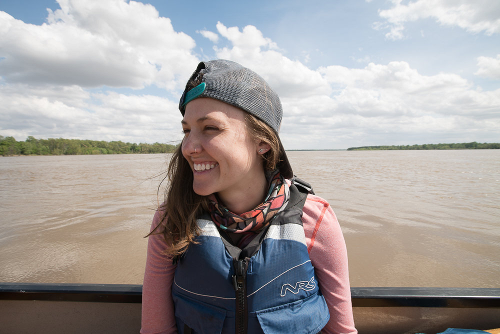 Here, in the heart of the Delta, Amanda Battaglia - who journeyed from Maine to Mississippi for two nights aboard the expedition - was one of the 40+ paddlers who joined the expedition for a short stint to help celebrate the completion of the  Rivergator . Photo Credit: Chris Battaglia.