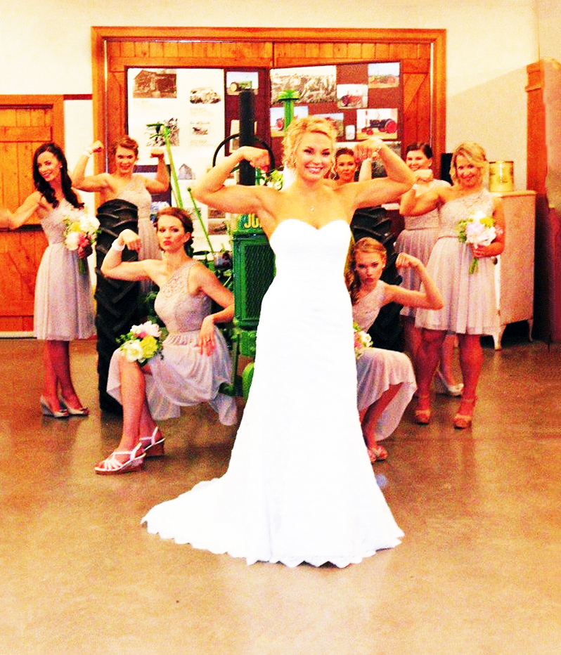 This bridal party enjoyed an amazing photo shoot with the Museum's john deere tractor