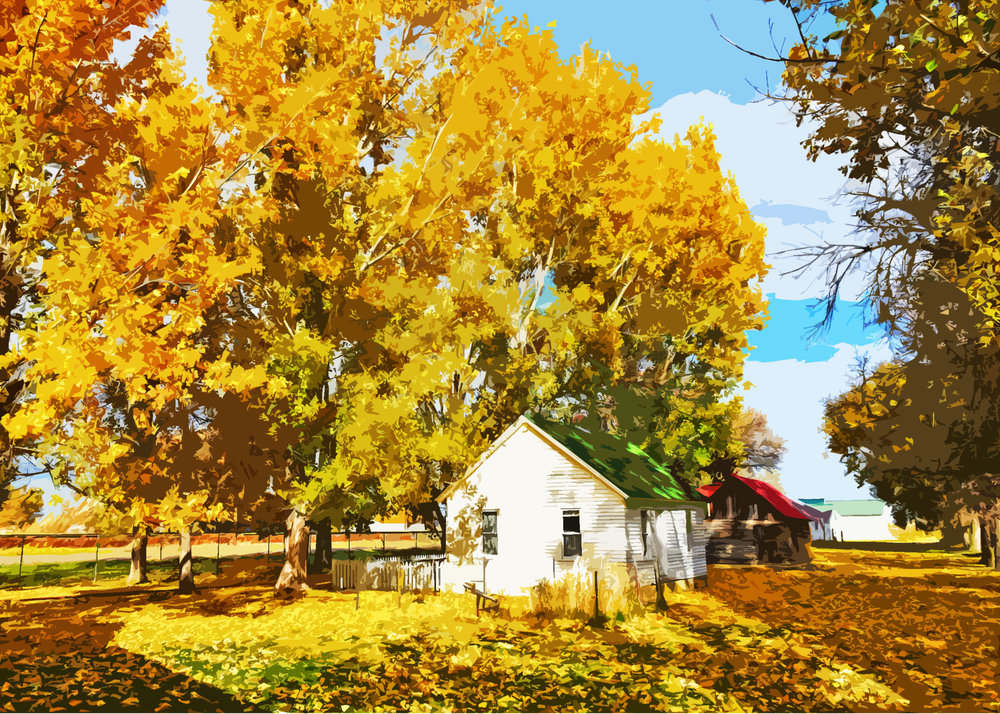 'Homestead House in Autumn'  and 'The Old & the New' are just two examples  of the art prints available to purchase at our art auction on Friday, March 30th, 2018 from 7 to 9 pm.