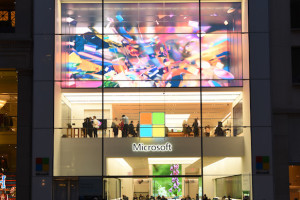 NEW YORK, NY – MARCH 30: An exterior view of the unveiling of an original art installation created by renowned artist Tabor Robak for the Flagship Microsoft Store. (Photo by Dave Kotinsky/Getty Images for Microsoft)