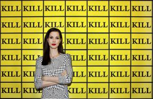 Julia Stoschek, with Kill-Wallpaper, (2003) by Sturtevant. Photo courtesy Şirin Şimşek.