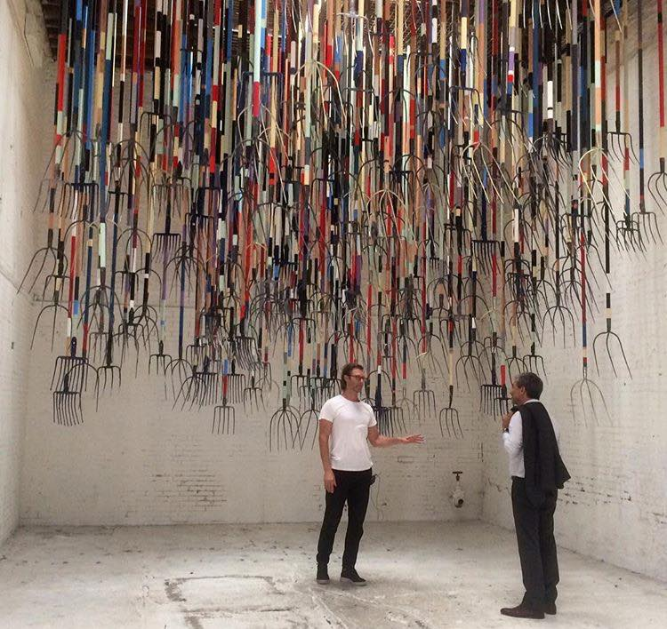 Simon Birch pictured with Michael Govan, the Director of LACMA. According to Birch, 'The Crusher' was in part a tribute to the legendary American wrestler Reginald Lisowski, The Crusher who inspired a 1960s pop song of the same name. Photo by VM Fernandez.