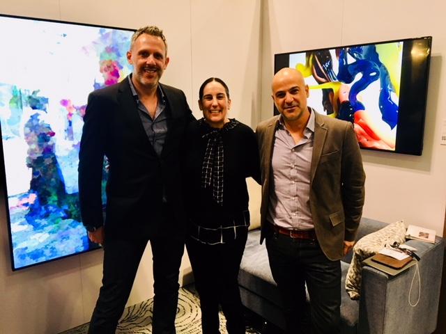 L. to R.: Rob Anders, Margo Spiritus & Yossi Amon; Featured Art: 'Selfish Gene Mirror' 2015 by Daniel Rozin; courtesy bitforms gallery; 'Bodypaint III' by Banz & Bowinkel.