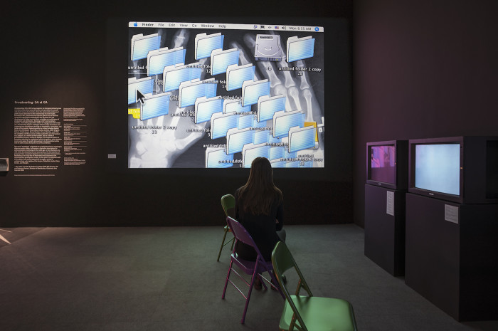 Broadcasting: EAI at ICA, installation view, Institute of Contemporary Art, University of Pennsylvania (photo by Constance Mensh)