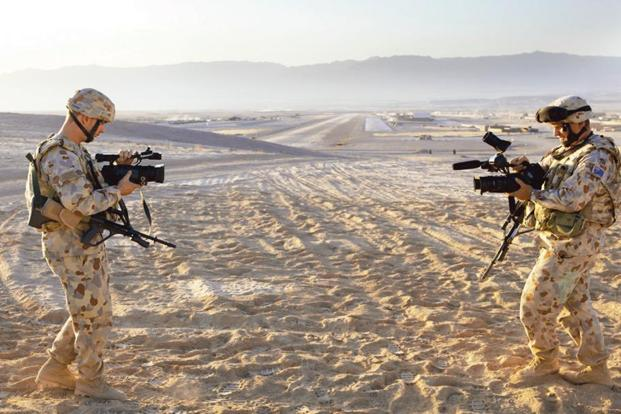 'Double Field/Viewfinder' by Shaun Gladwell (2009-10).Photo: Department of War Studies, King's College London