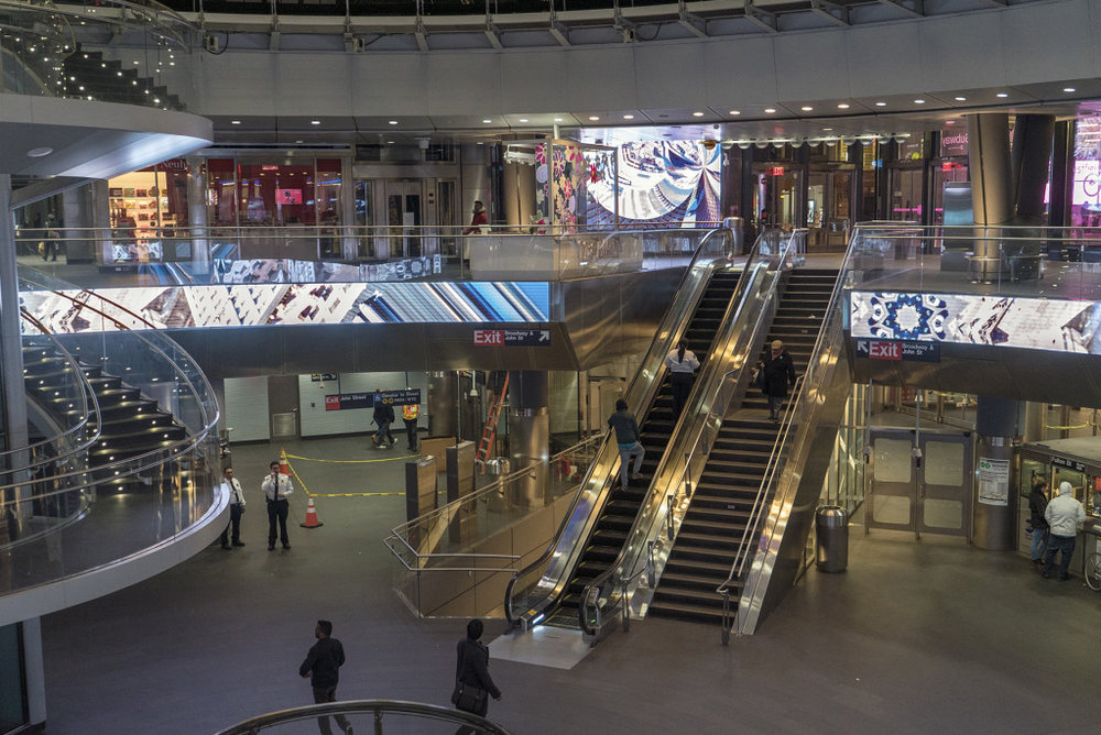 New York Dreaming, The Fulton Center, New York, NY, 2016-2017; 9 corresponding videos on 52 screens throughout the Fulton Street Transportation Hub; Courtesy of Anne Spalter.