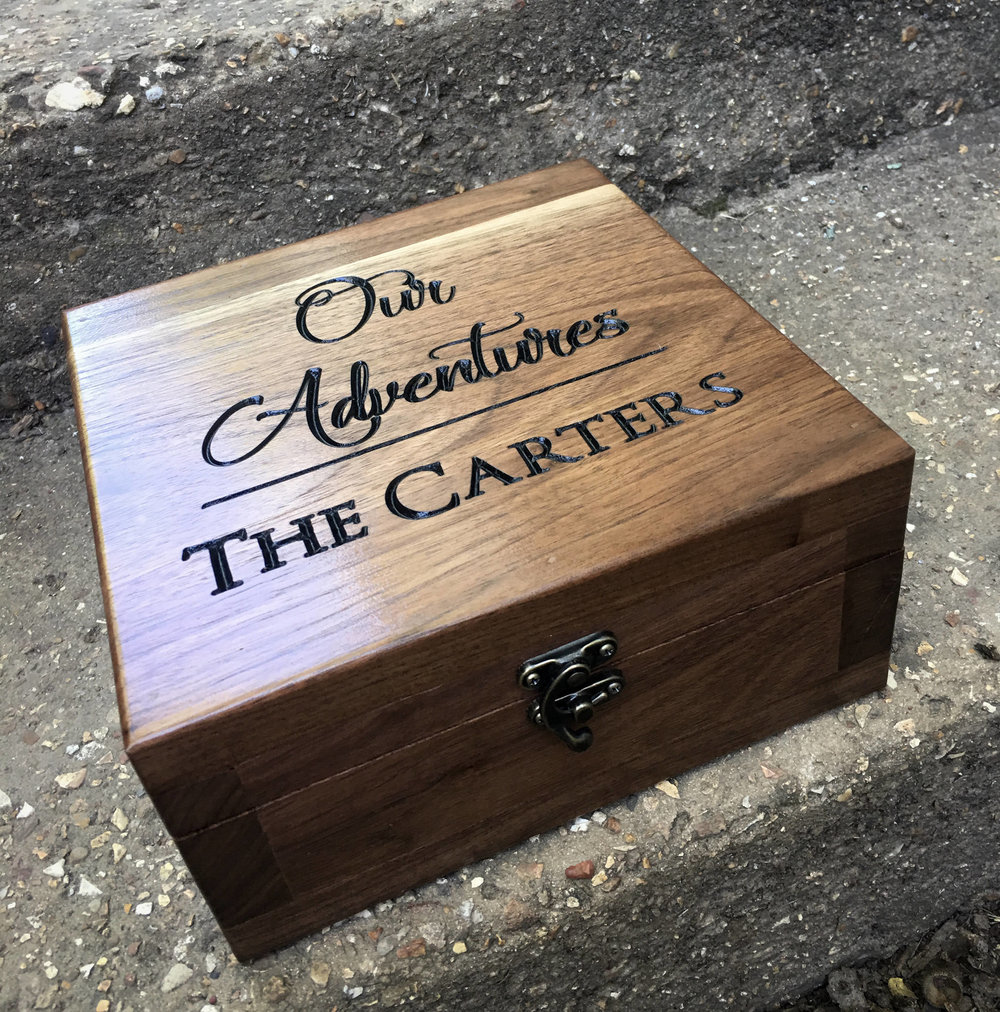 Keepsake Box - If you like keepsake boxes, you'll love this one by YouandICollection. What makes these boxes different? They're expertly hand crafted from Missouri Walnut making them durable and beautiful. Plus the deep engraving can be completely customized to suit the your personal (...or couple) style.