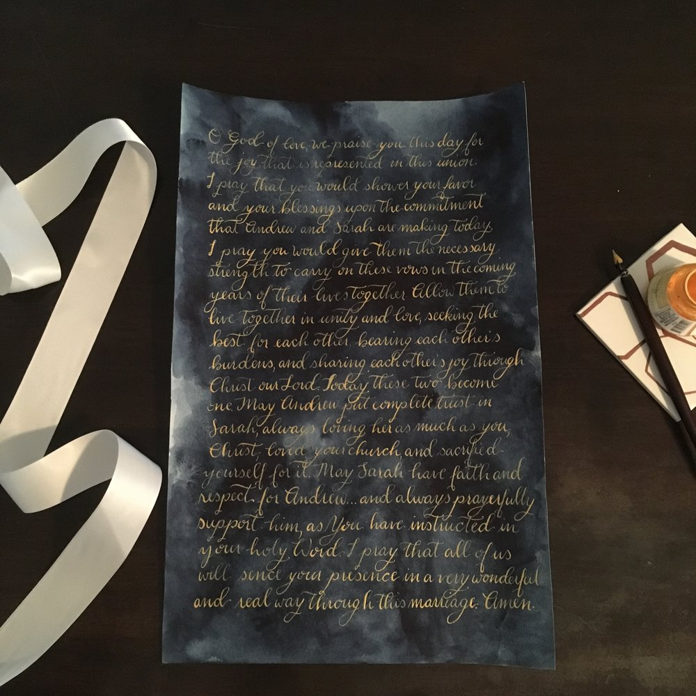 Calligraphy Vows - Your wedding day is special and your vows should be memorable. So how can you capture the essence of those life altering words? Preserve your wedding vows in calligraphy. The heirloom piece will look stunning on your gallery wall next to all those wedding photos. Tip: Choose a color palette that will complement your favorite wedding images AND play nicely with your home decor. Pictured: 11