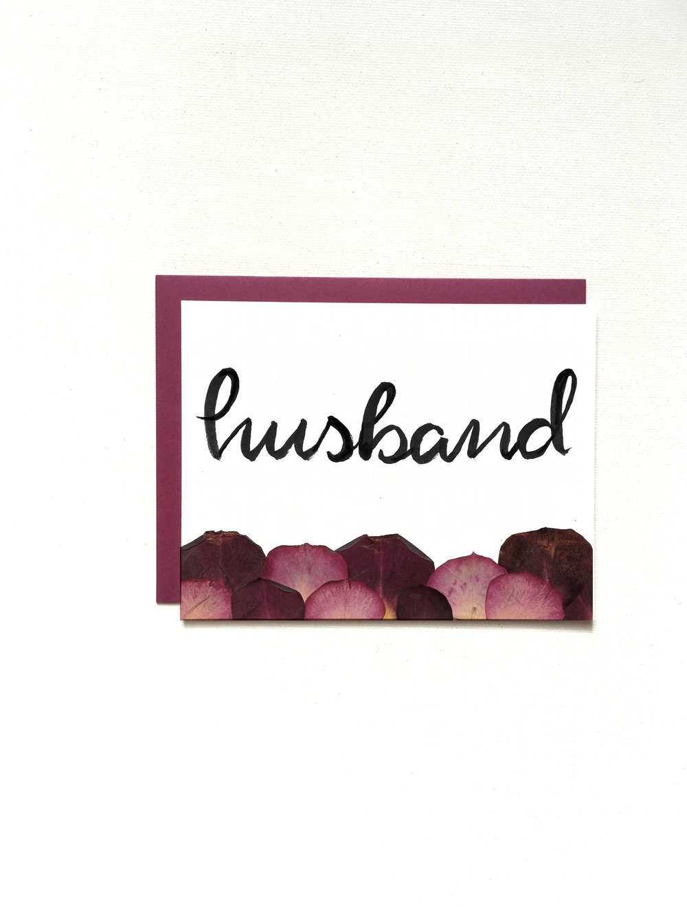 Husband Pressed Petal Card by Raleigh Calligraphy