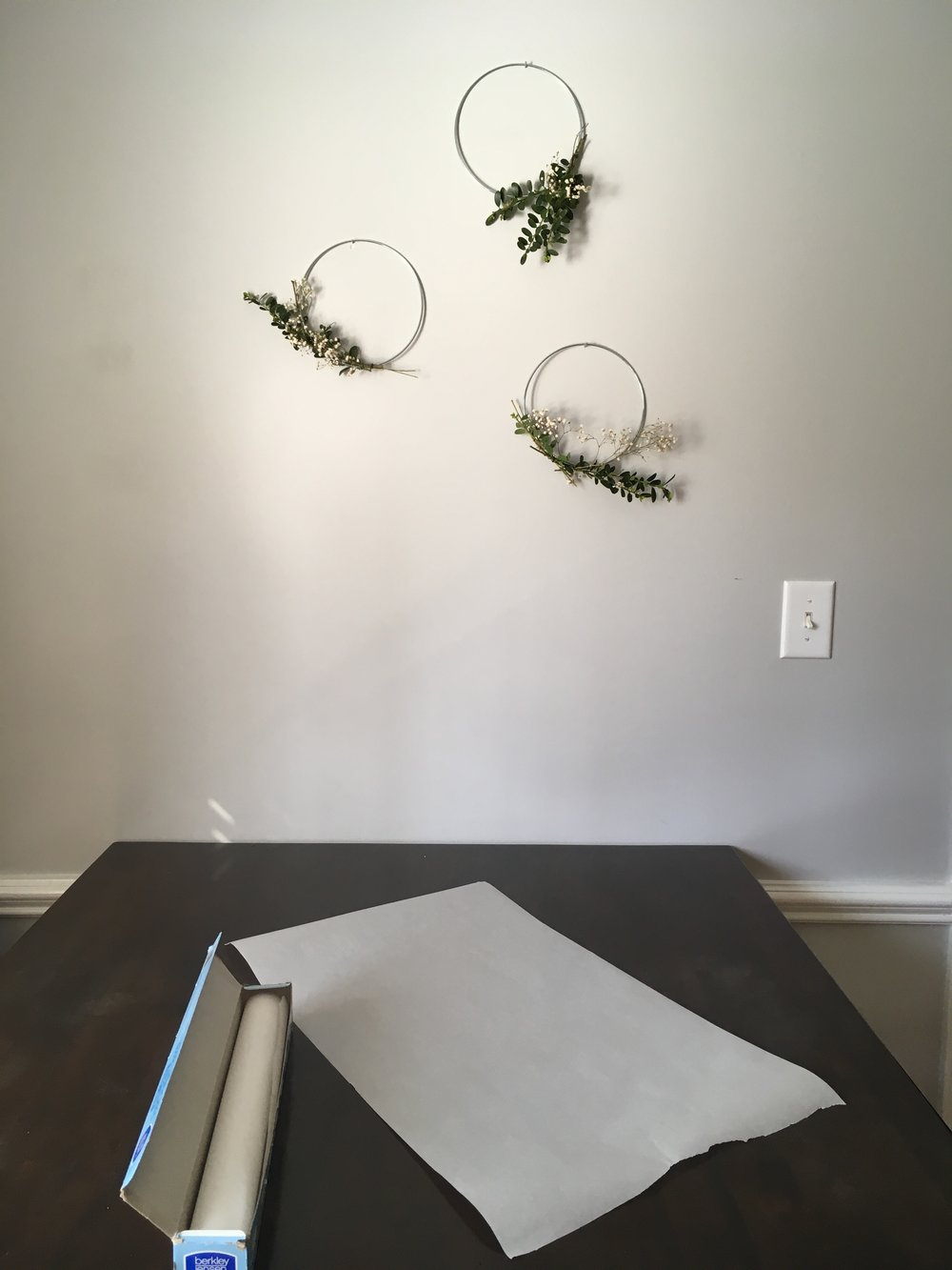 Step 1. - Choose a large sheet of light colored paper. I used a piece of parchment paper. If you have a roll of solid white or kraft paper that would work, too.