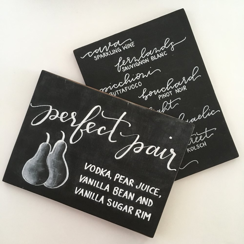 Signature Drink and Bar Menu Chalkboards in Modern Calligraphy by Raleigh Calligraphy & Design