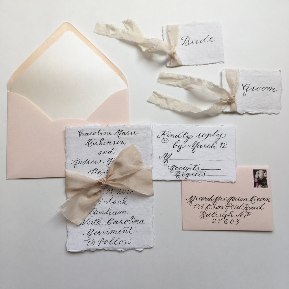Deckle Edge Wedding Invitation Suite by Raleigh Calligraphy & Design